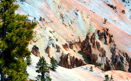 Dry Sandstone Monoliths. Attest to the force of erosion on the canyon lands of the Grand Canyon of the Yellowstone in Yellowstone National Park stock photo