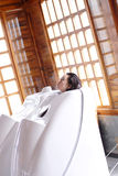 Dry sauna bed. A modern technology dry sauna bed, the cover raised Stock Image