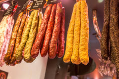 Dry sausages from a market Royalty Free Stock Photography