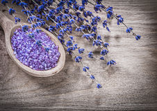 Dry scented lavender sea salt wooden spoon on wood board spa tre Stock Photos