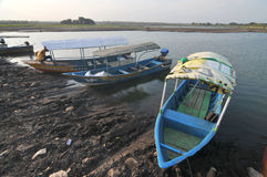 Dry Season in Indonesia. Cengklik reservoirs in Boyolali, Indonesia dries up as a result of droughts Royalty Free Stock Image