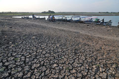 Dry Season in Indonesia. Cengklik reservoirs in Boyolali, Indonesia dries up as a result of droughts Stock Images
