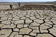Dry season. Residents of activity in the dry lake area during the dry season in Boyolali, Central Java, Indonesia Stock Photography