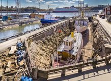Dry ship dock Royalty Free Stock Image