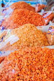 Dry shrimps on market Stock Photos