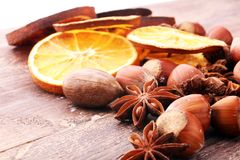 Dry slices of orange, cinnamon, cloves and cardamom.  Royalty Free Stock Photo