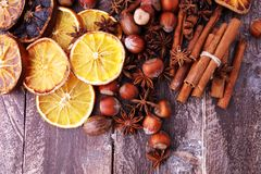 Dry slices of orange, cinnamon, cloves and cardamom.  Stock Photography