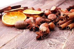 Dry slices of orange, cinnamon, cloves and cardamom.  Royalty Free Stock Image