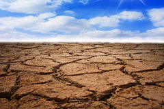 Dry soil. And sky in the background royalty free stock photos