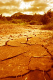 The Dry Soil. With the cracks evoking a feel of dirty stock photo