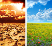 Dry soil in arid land and lush green landscape. Climate concept - global warming Royalty Free Stock Image