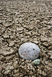 Dry Soil and stone. A close up of a stone on dry brown soil Royalty Free Stock Photography