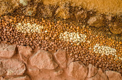 Dry soil surface cracks with stone background Stock Image
