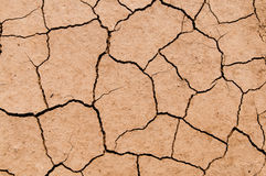 Dry soil texture on the ground. Cracked clay ground into the dry season Stock Photography