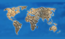 Dry soil texture world map Royalty Free Stock Images