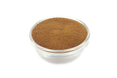 Dry soluble coffee powder. In a glass container stock images