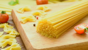 Dry spaghetti and other pasta stock footage
