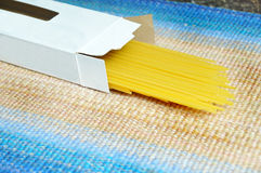 Dry sphegetti noddles in box Stock Photography