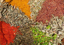 Dry spices background Stock Photos