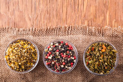 Dry spices in a glass bowl Stock Photos