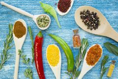 Set of spices and herbs on blue wooden background stock photos