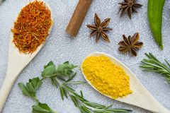 Set of spices and herbs on light stone background. Dry spices and herbs in wooden spoons with fresh herb springs, cloves and cinnamon on a light stone background Royalty Free Stock Image