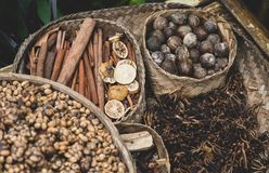 Dry spices islands of asia royalty free stock photography