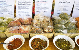 Dry spices for sauces and dressing ready to buy and to taste at Royalty Free Stock Photography