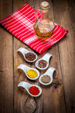 Dry spices in spoon. Royalty Free Stock Photos