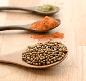 Dry spices in spoons and green herbs on the wooden table (close up) Royalty Free Stock Image