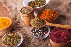Dry spices in a wooden and glass bowls Royalty Free Stock Images