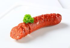 Dry spicy sausage Royalty Free Stock Photos