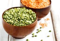 Dry split peas and lentils Royalty Free Stock Photos