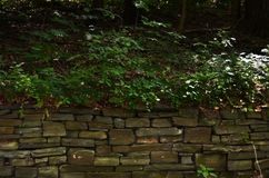 Dry stack stone wall at Cornell Botanical Gardens Stock Image
