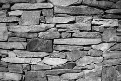 Dry Stacked Stone Foundation. This is a black and white image of an old well made dry stacked stone wall which made up part of an old foundation Stock Images