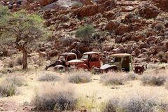 Stone desert with car wrecks - Namibia Africa royalty free stock image