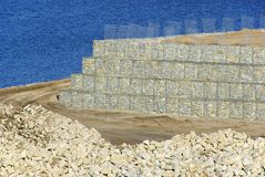 Dry stone wall 02. Dry stone wall, building site Stock Photo