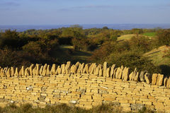 Dry stone wall. A dry stone wall broadway tower country park cotswolds worcestershire Royalty Free Stock Images