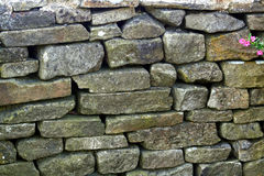 Dry Stone Wall. Dry-laid wall with pink flowers Stock Photos
