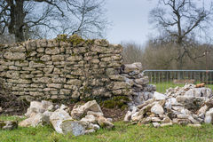 Dry stone wall being repaired Stock Image