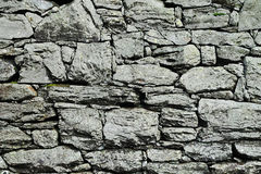 Dry-stone wall construction. Abstract background of a dry-stone wall construction using irregular natural rough stones which are interlocked by their shape Stock Photography