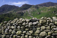 Dry stone wall in Cumbria UK Royalty Free Stock Photos