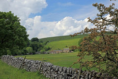 Dry stone wall in Derbyshire England Royalty Free Stock Images