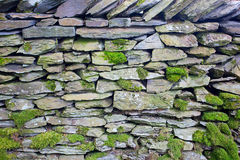 Dry Stone wall in the Lake District. Dry stone wall covered being used as a field divider in Lake District farmland Stock Photography