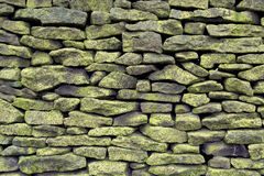 Dry Stone Wall. With lichen growth Stock Photos