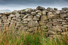 Dry stone wall on moorland Royalty Free Stock Image