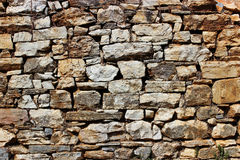 Dry stone wall. Old dry stone wall of a rural traditional house Royalty Free Stock Photo