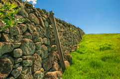 Dry Stone Wall Rolling Green Meadow Royalty Free Stock Images