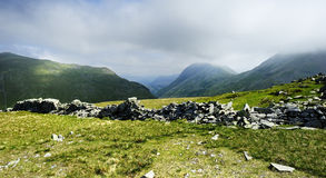 Dry stone wall on Seat Sandal Royalty Free Stock Photos