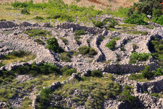 Dry stone wall Stara Baska. Dry stone wall, Stara Baska in Croatia, typical landscape on the island Krk Stock Photo
